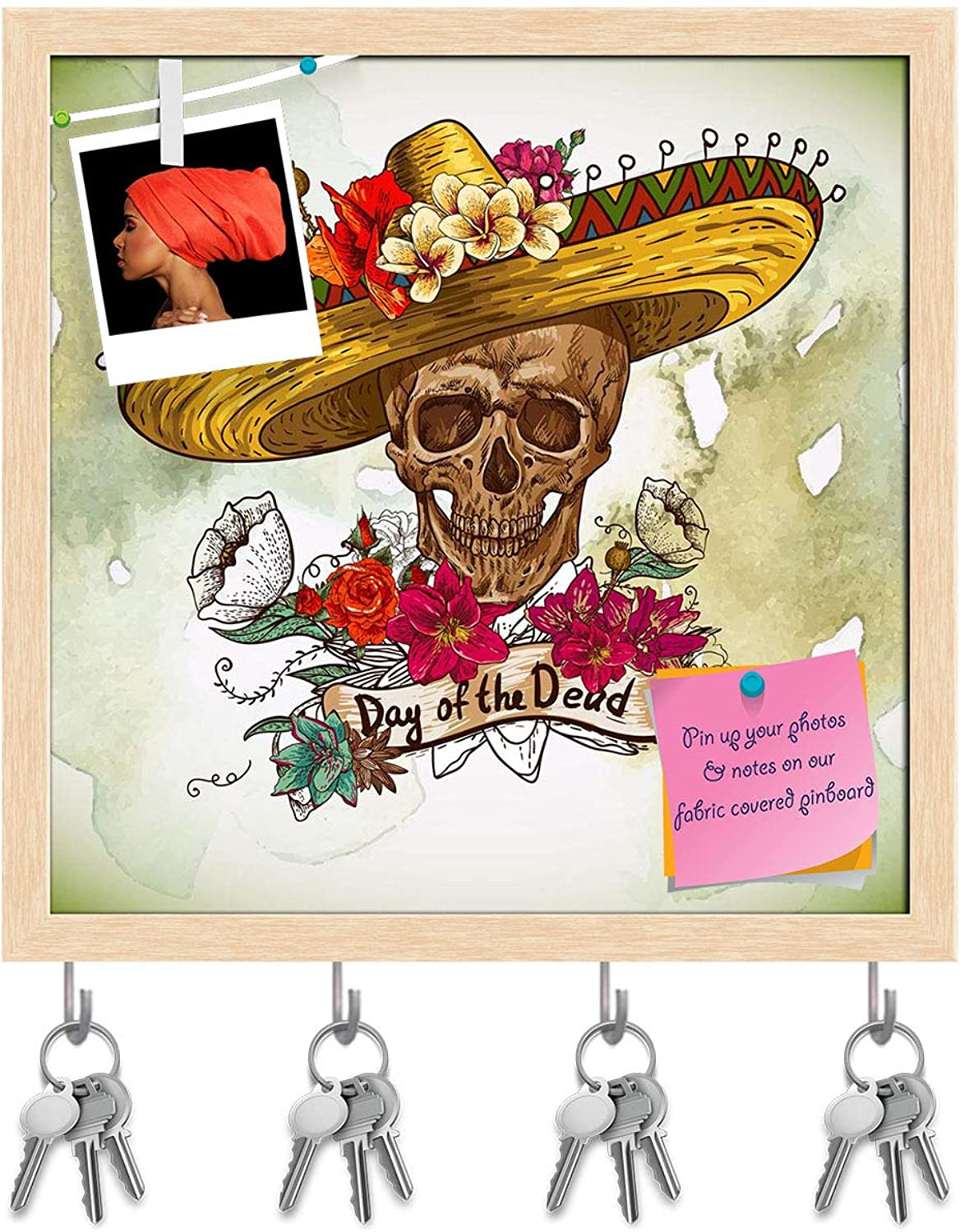 Artzfolio Skull with Flowers Key Holder Hooks   Notice Pin Board   Natural Brown Frame 20 X 20Inch