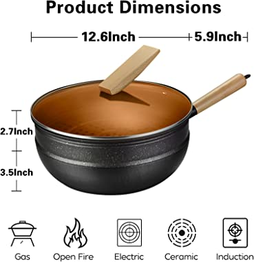 Carbon steel wok pan flat bottom pan with lid for gas stoves induction and electric (12.5 inch wok,lid,steam rack,spatulas,an