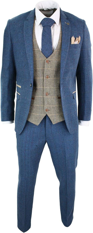 Mens Blue Tan Brown 3 Piece Herringbone Tweed Check Vintage Tailored Fit Suit