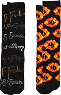 Lord of the Rings Names & Eye of Sauron 2-pack Adult Crew Socks