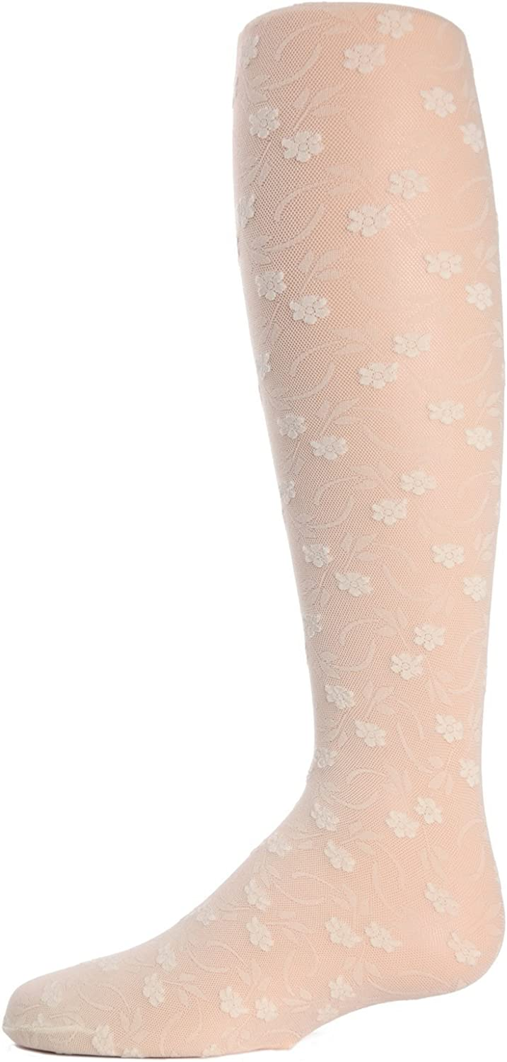 MeMoi Sweet Blossoms Girls Sheer Floral Lace Tights