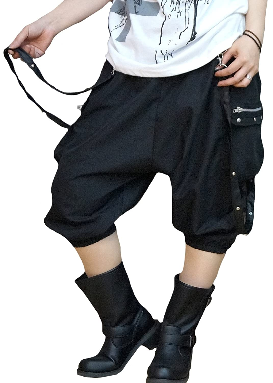 Hippies (ヒッピーズ) サルエル ハーフ カーゴ パンツ レディース ゆったり ミリタリー V系 ダンス ブラック 4800