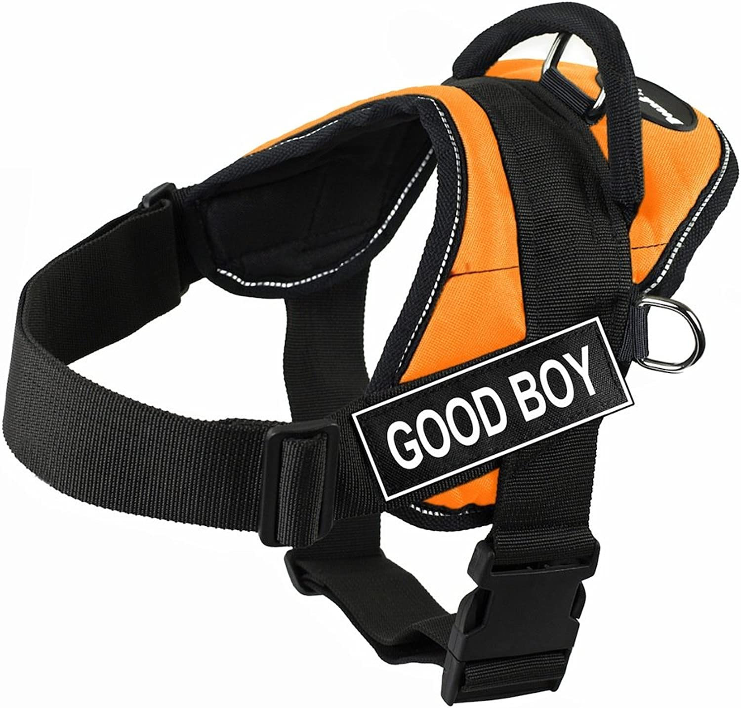Dean & Tyler DT Fun Good Boy Harness with Reflective Trim, XSmall, orange