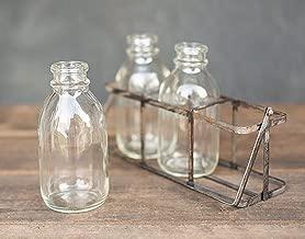 GyPsy BaRn ChiX Vintage Styled Milk Bottle Farmhouse Decor - 3 Milk Bottles in a Vintage Decor Metal Carrier Handle - Wedding Decor