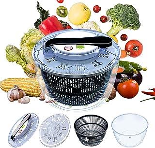 Salad Spinner Large Multifunctional 4.5 Quart Design BPA Free,Manual Good Grips Crank Handle & Locking Fruits and Vegetabl...