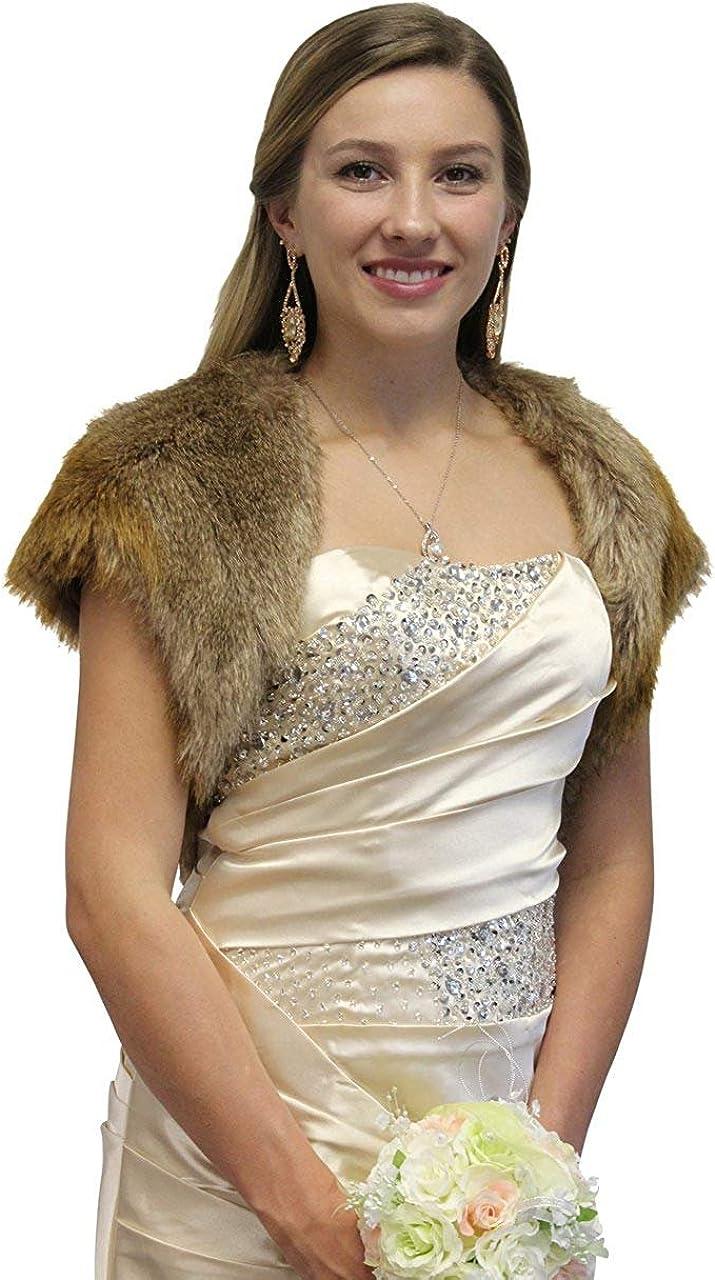 Tion Design Faux Fur Bolero Wedding Jacket, Vintage Brown