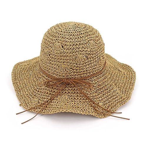 Zhuhaitf Playa de Verano Sombrero de Sol Plegable Hueco Suave ala Ancha  Sombrero de Paja Bowknot bb38e55d372
