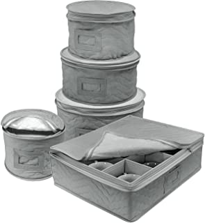 Sorbus Dinnerware Storage 5-Piece Set for Protecting or Transporting Dinnerware ? Service for 12 ? Round Plate and Cup Quilted Protection Felt Protectors for Plates Fine China Case (Gray)