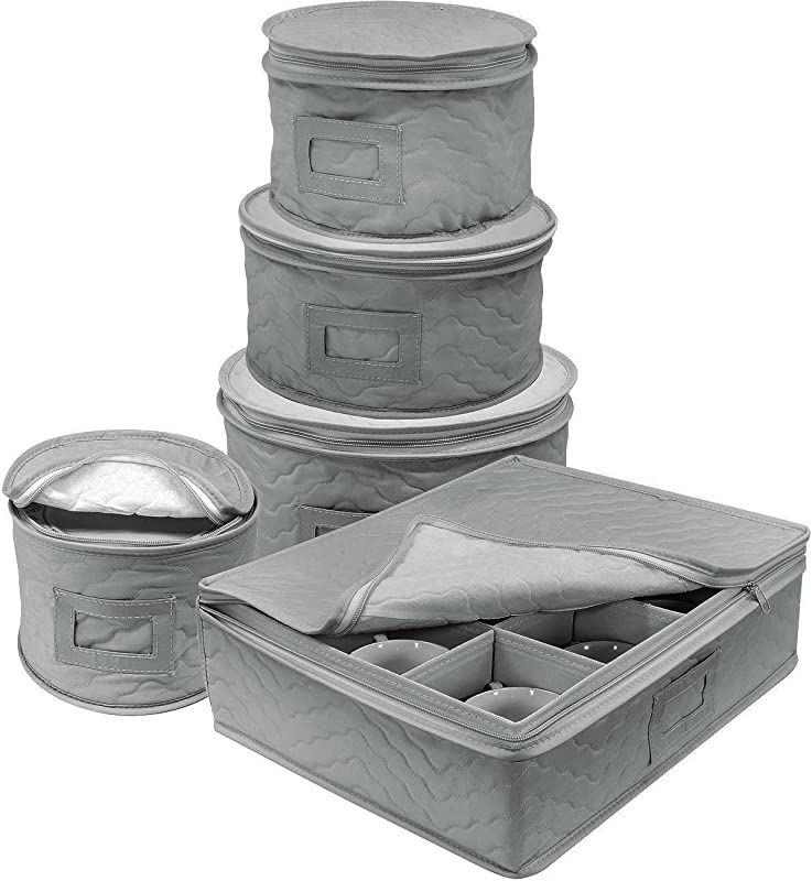 Sorbus Dinnerware Storage 5 Piece Set For Protecting Or Transporting Dinnerware Service For 12 Round Plate And Cup Quilted Protection Felt Protectors For Plates Fine China Case Gray