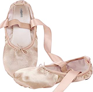 Girls Womens Dance Shoe Pink Ballet Pointe Slippers Ballet Flats Shoes with Ribbons Toe Pads Black Pink Red
