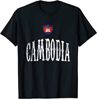 Vintage Cambodia Flag T-shirt Cambodian Pride Soccer Sports