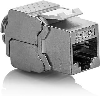 deleyCON 1x Módulo Keystone Cat 6a Jack STP Completamente Blindado Toma RJ45 Instalación Montaje Snap-IN 500Mhz 10GBit/s