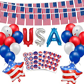 Patriotic Decorations - 74PCS Fourth of July Patriotic Decorations Set, including Red White Blue Paper Fans,Balloons, Pom Poms, USA Flag Stickers,Banner, Hanging Swirl