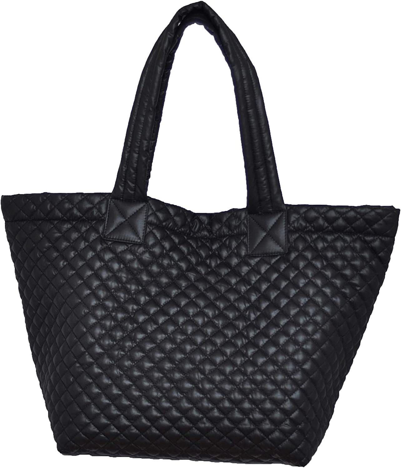 ClaraNY Comfortable Light weight quilted Tote with pouch Water Repellent Black