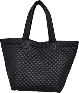 quilted Tote with pouch Lightweight Water Repellent color Black