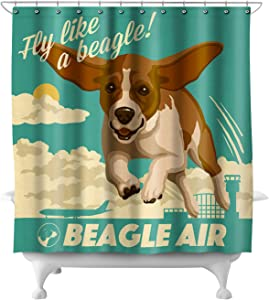Lantern Press Beagle - Retro Aviation Ad 54870 (74x74 Polyester Shower Curtain)
