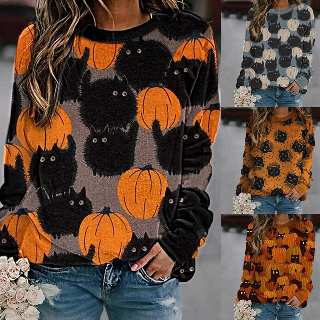 AIHOU Halloween Shirts for Women Long Sleeve Womens Sweatshirts Pumpkin Face Print Crewneck Sweatshirts Tops Casual Pullover