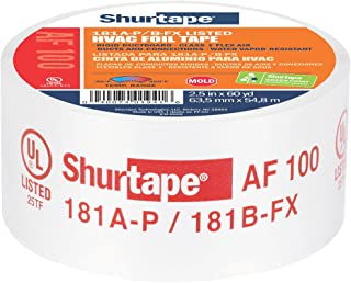 Shurtape AF 100 UL 181A-P/B-FX Listed/Printed Aluminum Foil HVAC Tape with EasyPeel Paper Liner, HVAC Joint Sealing Tape, 2.5