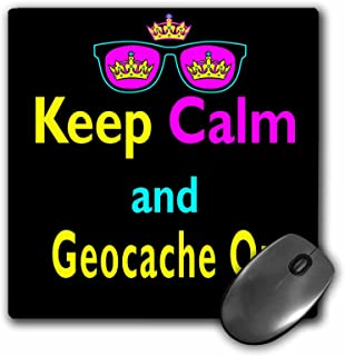 3Drose LLC 8 X 8 X 0.25 Inches Mouse Pad, CMYK Keep Calm Parody Hipster Crown and Sunglasses Keep Calm and Geocache on (M...