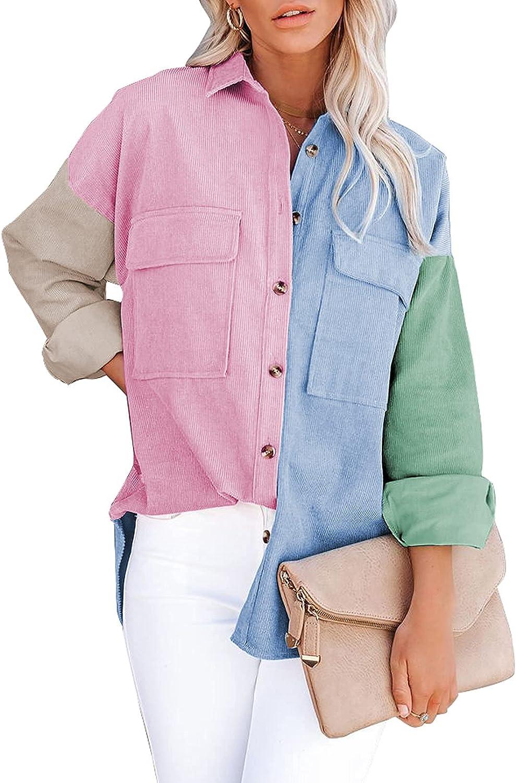YQWEL Womens Color Block Button Down Shirts Boyfriend Long Sleeve Oversized Blouses Tops