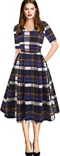 Women's Vintage Elegant V-Neck Casual Party Cocktail Swing Work Midi Dress with Pockets OX295