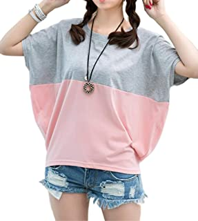 [アルトコロニー] 大き目 tシャツ ビッグサイズ 半そで 体型カバー バイカラー カジュアル ユッタリ M ~ XL レディース