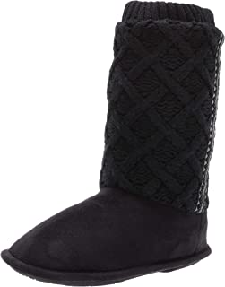 isotoner Sweater Knit Tessa Tall Boot House Slipper with All Around Memory Foam Comfort  womens Slipper