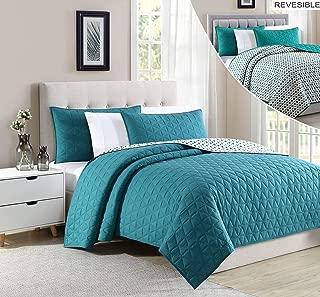BOURINA Reversible Bedspread Coverlet Set - Microfiber Lightweight Comforter Oversized 3-Piece Quilt Set Cal King, Green