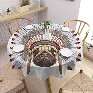 DILITECK Pug Summer Round Tablecloth Portrait of a Dog Native with Bonnet Hand Drawn Illustration of Fun Animals Design Washable Tablecloth Diameter 63