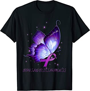 CROHN'S AND COLITIS Awareness butterfly ribbon T-Shirt