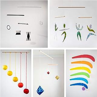 Set of 5 Montessori inspired mobiles - Black and White mobile, Orange Gobbi, Dancers, Octahedron, Rainbow. Montessori mobi...