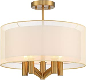 "Caliari Modern Ceiling Light Semi Flush Mount Fixture Warm Brass 18"" Wide 5-Light Double Drum Shade for Bedroom Kitchen Living Room Hallway Bathroom - Possini Euro Design"