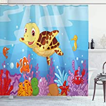 Ambesonne Turtle Shower Curtain, Funny Cartoon Style Underwater Sea Animals Baby Turtle and Fish Pattern, Cloth Fabric Bathroom Decor Set with Hooks, 75