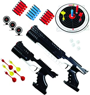 KUMEDAL Victoy Set for Kids - air Pump Shooting Blaster Plastic Toy Guns That Look Real - Including Target Darts, Soft Foam Bullets with Suction Cup - Airsoft Toy Weapons for Boys & Girls