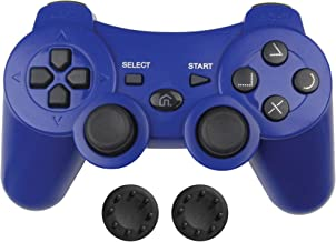 Bek Wireless PS3 Controller, PS3 Gamepad Remote with Non-Slip Joystick Thumb Grips, Rechargeable Battery Dualshock 3 Vibration and Motion Sensors for Sony Playstation 3 PS3 Color (Blue)