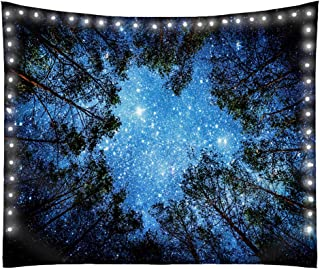 Forest Sky, Night, Starry, Galaxy, Tree, Ceiling, Men Tapestry, Includes LED Battery Operated Lights with Remote Control and 6 Hanging Hooks, Large 80 Inches x 60 Inches