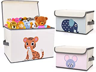 DIMJ 3Pcs Toy Chest & Storage Bins for Boys Girls Collapsible with Flip-top Lid, Room Nursery Cartoon Toy Organizer Baskets Box for Books, Clothes (Beige)