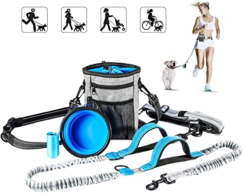 Hands Free Dog Leash with Training Treat Pouch, Leash Reflective Shock Bungee Endure Up to 44 lbs, Adjustable Design ...