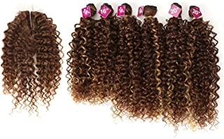 Style Icon Synthetic Kinky Curly Blonde Hair 16-20 inch 7Pieces/lot High Temperature Fiber Afro Kinky Curly Hair 6 Pieces With Closure Lace For Black Women (16