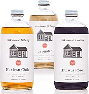 Pink House Alchemy Tequila Collections - 3 /16 oz Lavender - Mexican Chile - Hibiscus Rose Simple Syrups - Fresh Harvested Fruit & Herbs - Cocktails - Mocktails - Coffee - Shaved Ice (Tequila3)
