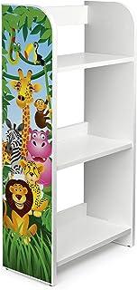 Leomark Bibliothèque Etagere De 3 Casiers Meuble De Rangement Colour Blanc Motif: Animaux de la Jungle Lion Eléphant Giraf...