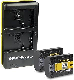 PATONA Cargador Doble + 2X Bateria NP-FH50 Compatible con Sony DCR-/ DVD-/ HC-/ HDR- Serien