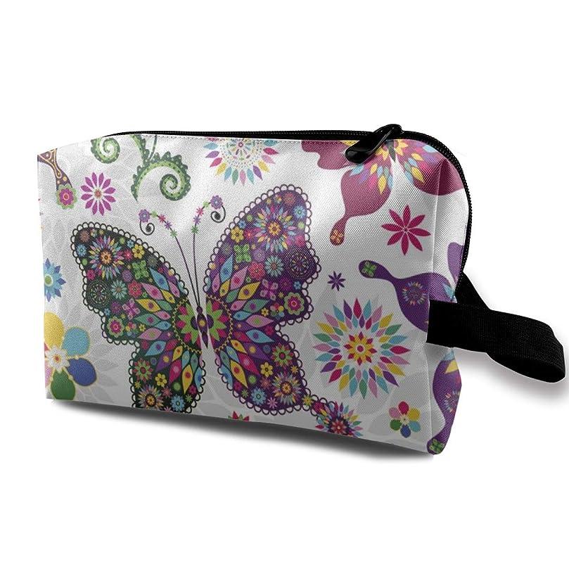 石鹸調子絶滅カラフルな蝶と花 化粧バッグ 収納袋 女大容量 化粧品クラッチバッグ 収納 軽量 ウィンドジップ