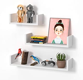 STOREMIC Floating Shelves Easy to Install Wall Shelves Pack of 3 with Length 60cm, 45cm, 30cm, U-Shaped White Wall Shelf f...
