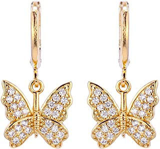 Charm Butterfly Hoop Earrings, 14K Gold Silver Crystal...