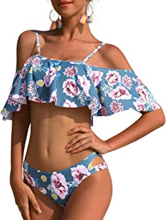 Tempt Me Women Two Pieces Clear Sexy Floral Print Crop Ruffled Off-Shoulder Bikini
