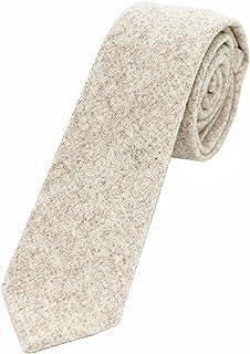 """JEMYGINS 2.4"""" Cotton Necktie Solid Mens Cashmere Wool Skinny Tie"""