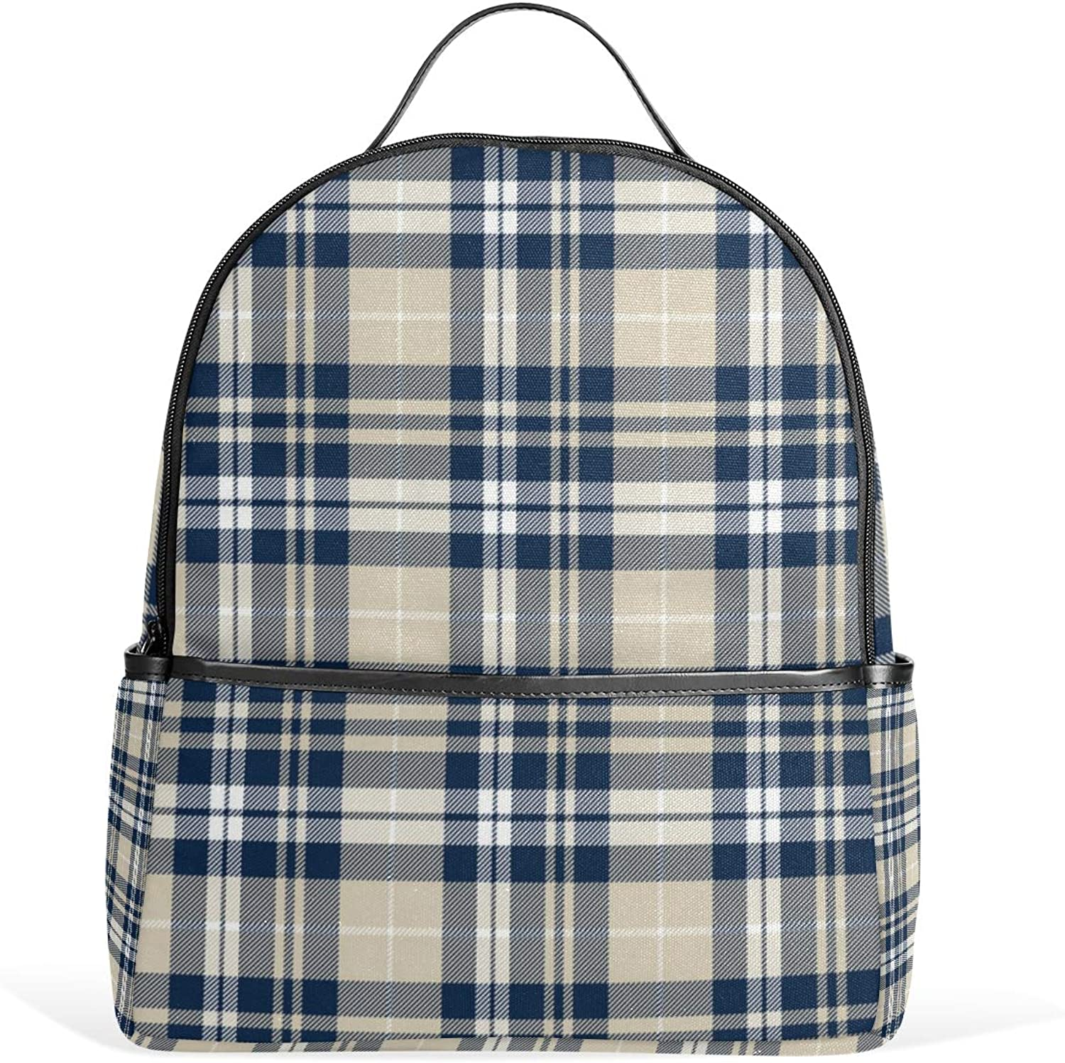 a457024bc145f Fall Plaid Navy Tan White Backpack for Men Women Pack Shoulder Bag ...