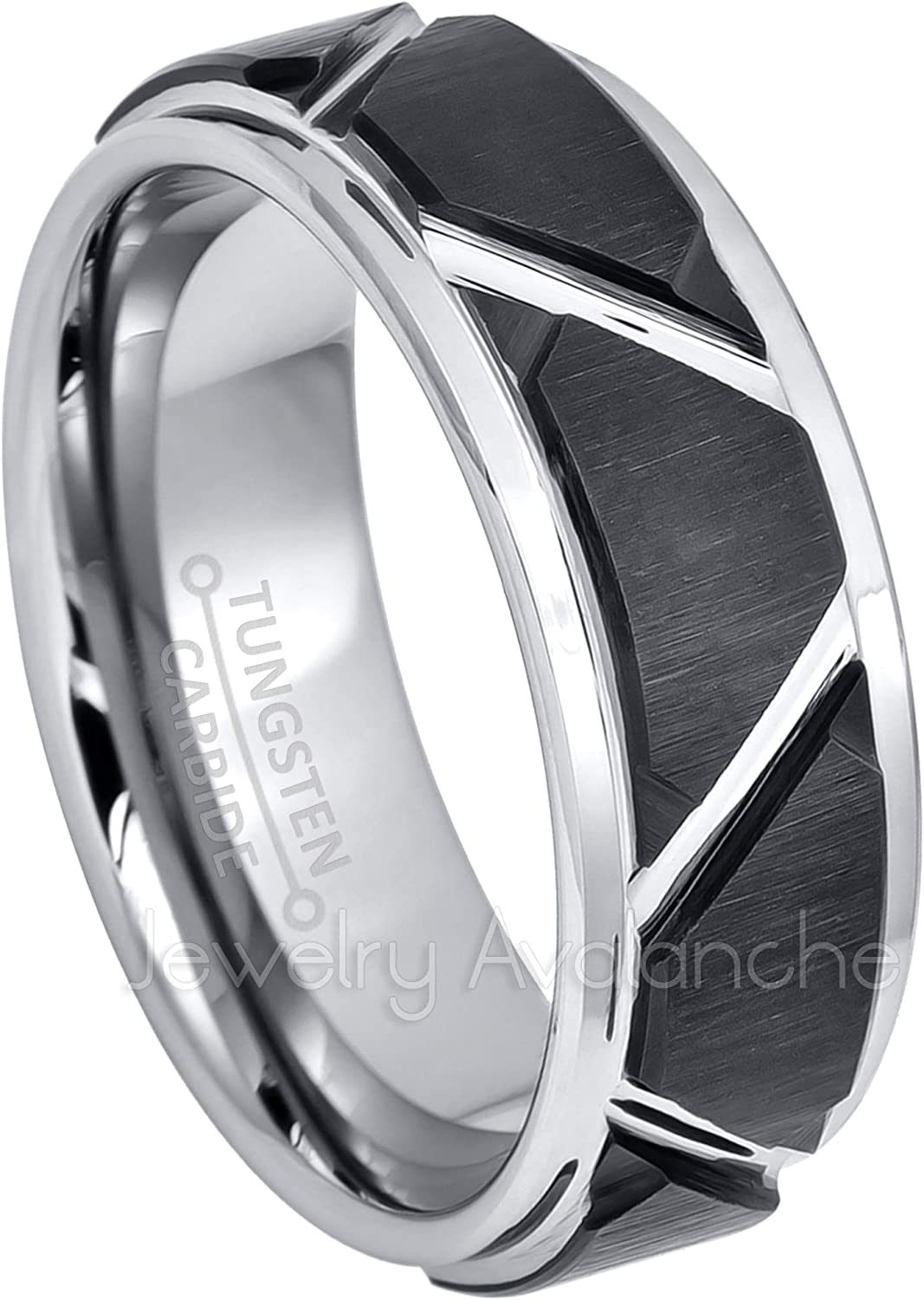 Safety and trust Jewelry Avalanche Selling rankings 2-Tone Pipe Cut Tungsten Wedding - Br 8mm Band