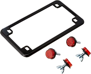 Chris Products 0612 Black Motorcycle License Plate Frame with 4 Red Reflectors (Chrome)